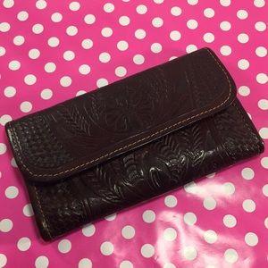Drop Dead Gorgeous Vintage Hand Tooled Lthr Wallet